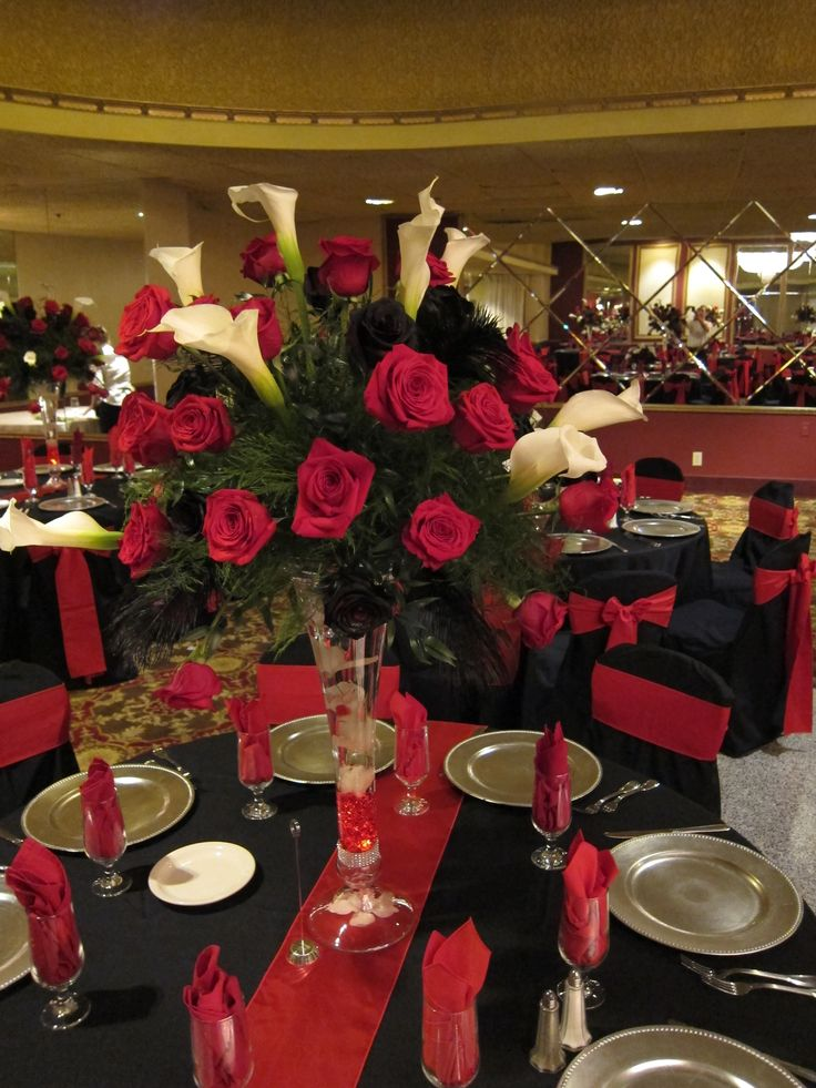 tall red and black centerpiece