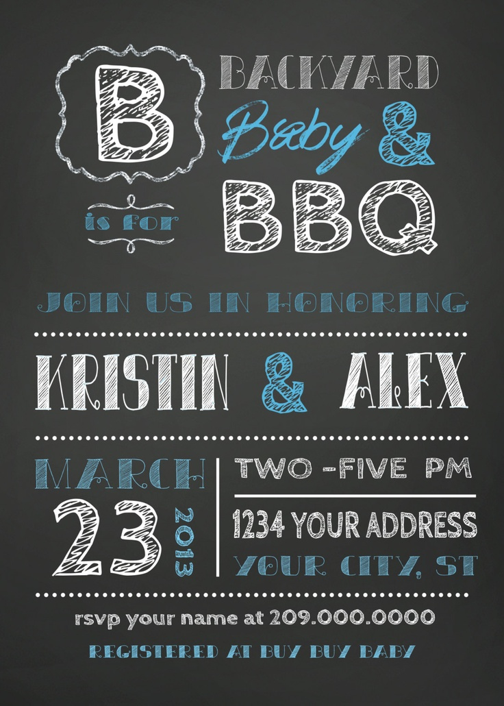 COUPLES bbq BABY SHOWER invitation chalkboard 1800