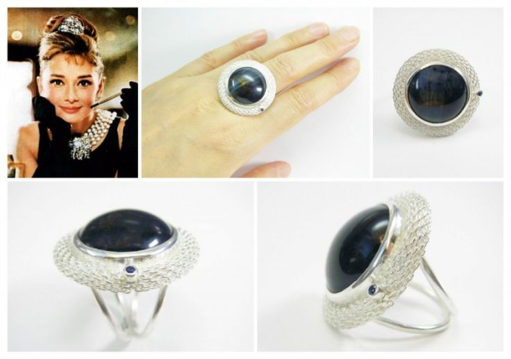 """"""" Breakfast at Tiffany's"""", cocktail ring. Sterling silver, falcon's eye, blue sapphire. Size 6 3/4."""