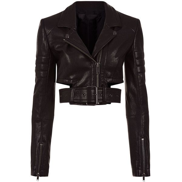 Haider Ackermann Black Leather Cropped Biker Jacket ($2,770) ❤ liked on Polyvore featuring outerwear, jackets, cropped jacket, long jacket, biker jacket, leather motorcycle jacket and genuine leather jackets