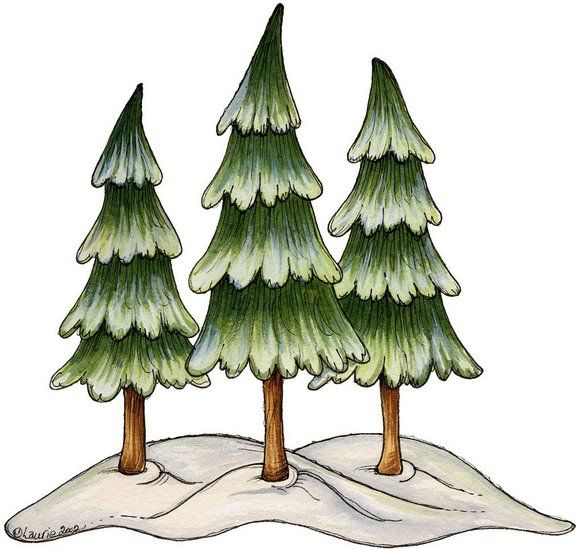 Christmas Tree With Snow Clipart