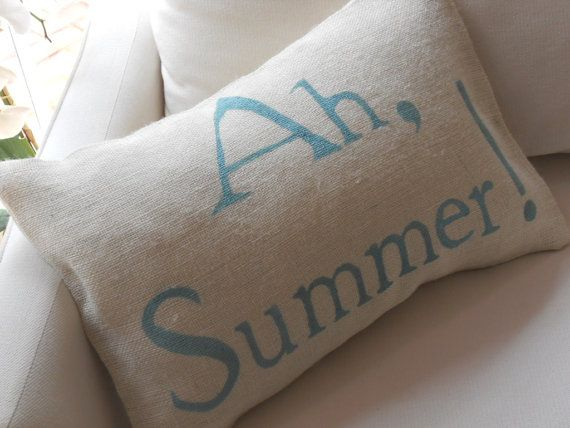Ah Summer White Burlap Pillow Slip by TheLetteredHome