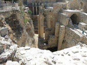 the ruins of the Pools of Bethesda next to St. Anne's Church in Jerusalem
