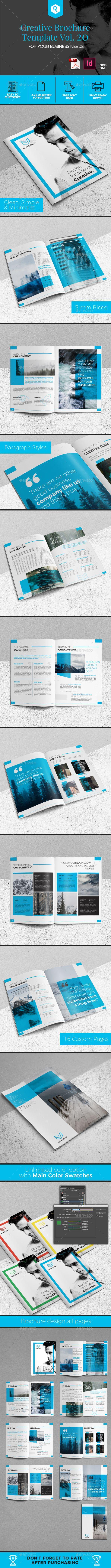 Creative Brochure Template Vol. 20 - #Corporate #Brochures Download here: https://graphicriver.net/item/creative-brochure-template-vol-20/20089810?ref=alena994