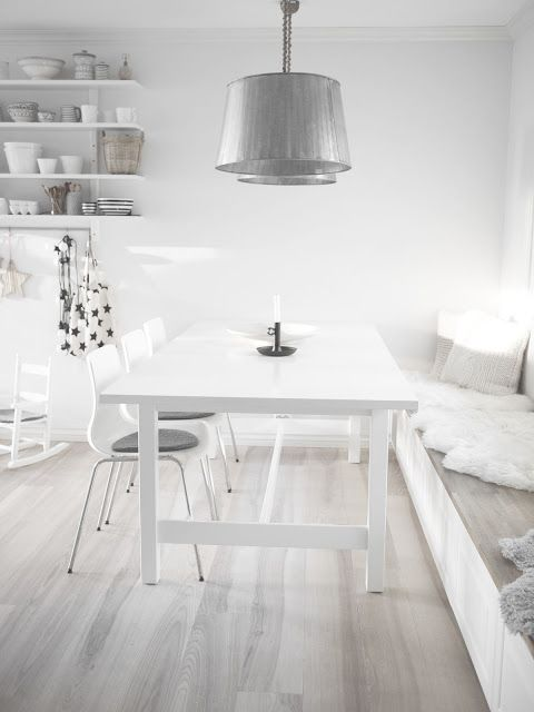 45 Amazing Whitewashed Floors Dcor Ideas With White Wooden Dining Table And Chair Silver Ch