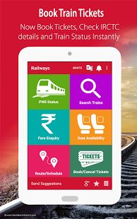 Indian Railway IRCTC PNR App is a one-stop app for all your indian railways inquiry, NTES and IRCTC PNR status.You can check train fares, book tickets through the railway app. Also, book tatkal tickets and check live train status.