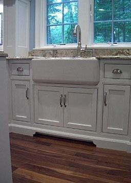 Farm house sink; furniture cabinets; gooseneck faucet