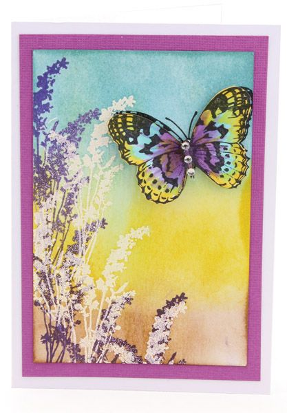 MT553 Textured Lavender Butterfly Card