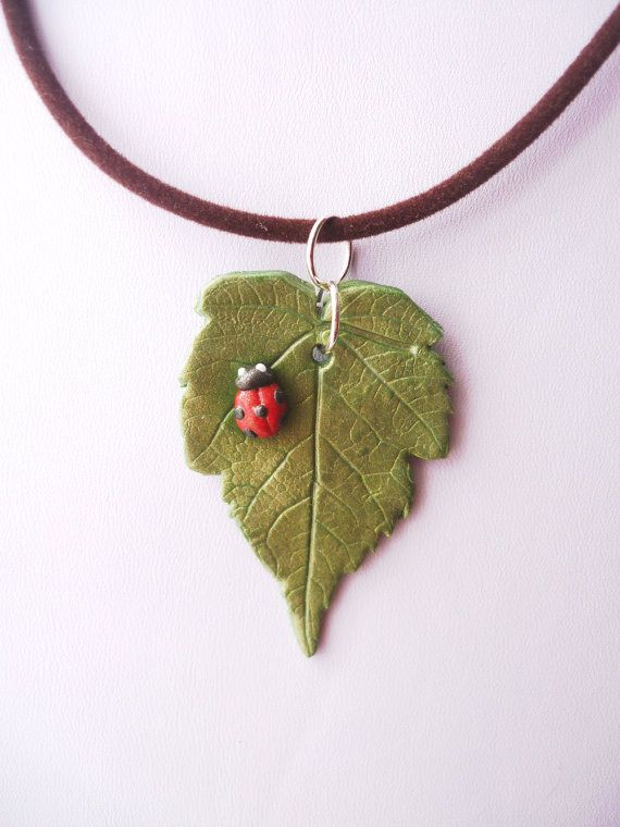 Realistic Leaf and Lady Bird Polymer Clay Necklace Listing Stats