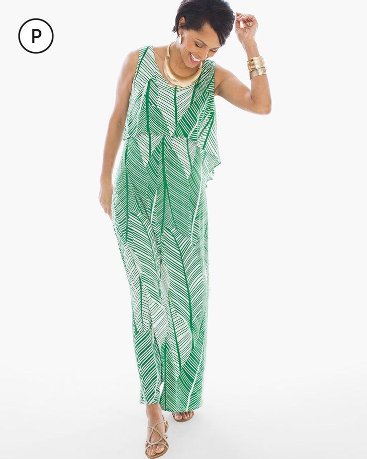 Chico's Women's Petite Palm Maxi Dress, Green, Size: