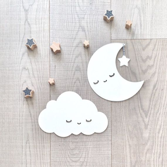 Kids room decor silver moon and cloud wall decor by HopStudio