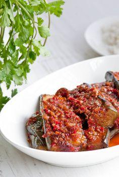 eggplant with chili, sambal terong (red chilies, shallots, garlic, tamarind pulp, eggplants)