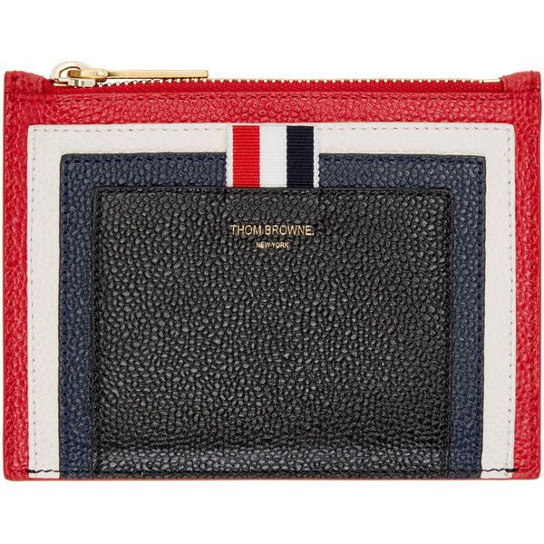 Thom Browne Tricolor Small Cricket Stripe Coin Pouch (1,725 SAR) ❤ liked on Polyvore featuring bags, wallets, change purse wallet, striped wallet, coin purse wallet, colorful wallets and zipper wallet