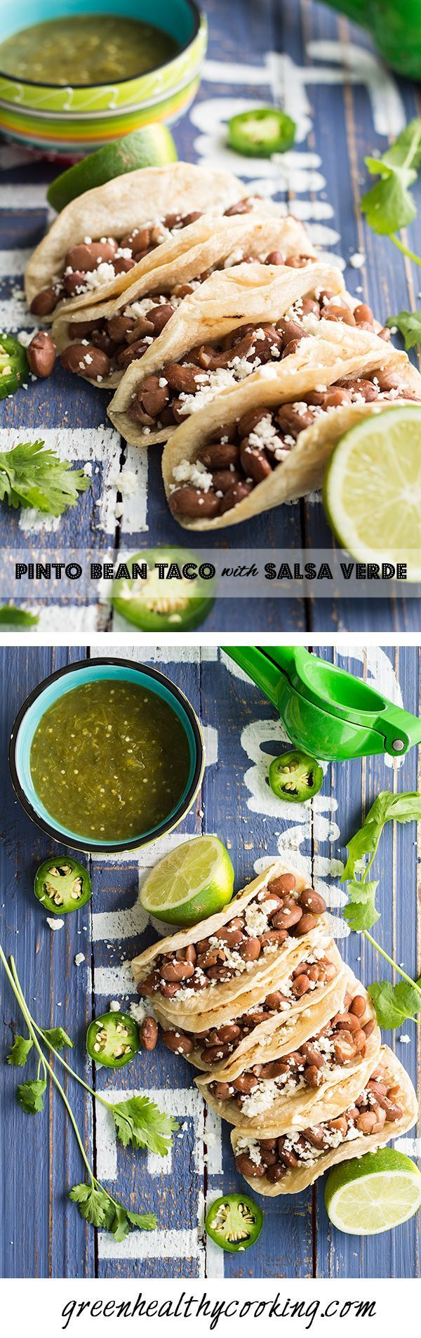 Pinto Bean Taco with Salsa Verde, a recipe worth saving for everyone in love with Mexican cuisine.