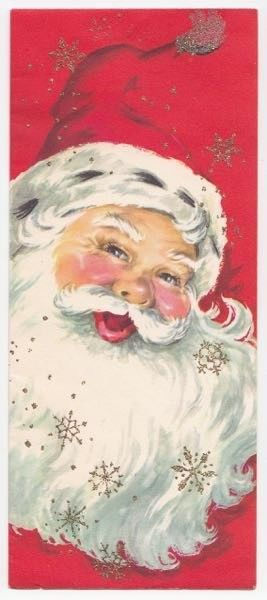 Vintage Greeting Card Christmas Santa Claus Gilt Glitter Snowflakes