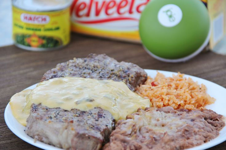 Steak Tampico - Around My Family Table. Mmmmmm! Cheesey Green chile sauce over steak! Bring it ON!