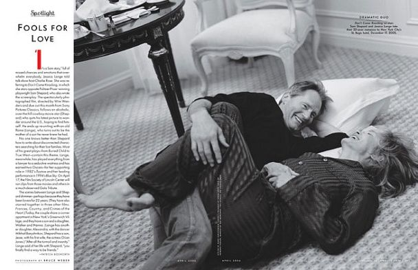 Sam Shepard and Jessica Lange  Shepard and Lange have one of the longest-running Hollywood romances. They met on the set of Frances (1982), moved in together in 1983, had a daughter and a son, and continue to live happily ever after, racking up Oscars (for her performances in 1982's Tootsie and 1994's Blue Sky), a Pulitzer (for his 1979 play, Buried Child), and various other awards for their low-key but usually brilliant writing and acting.