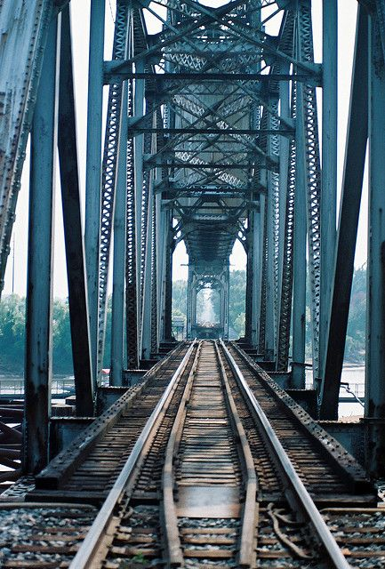 Railroad bridge over Tombigbee River, Jackson, Alabama, USA.