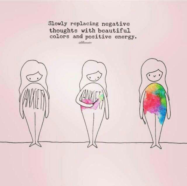 Slowly replace negative thoughts with beautiful colours and positive energy