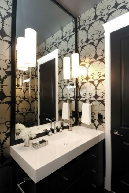 Atmosphere Interior Design Chic Small Powder Room With Black Metallic Wallpaper Wood Framed Mirror