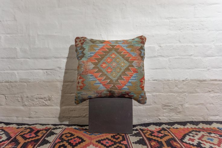 Hand Made Mazar Kilim Cushion from Afghanistan. Length: 50.0cm by Width: 50.0cm. Only £49 at https://www.olneyrugs.co.uk/shop/kilim-cushions-for-sale/afghan-mazar-22311.html    Take home one of our wonderous range of kilim rugs, carpets, foot stools and Kilim cushion covers at www.olneyrugs.co.uk