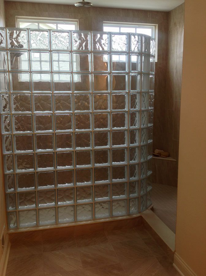 Love How This Curved Glass Block Shower Wall Provides A