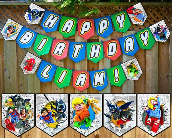 Lego Justice League Inspired Birthday Banner Lego by InstaBirthday
