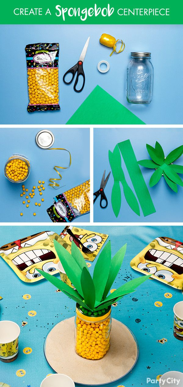 Blow any Spongebob party out of the water with this pineapple centerpiece DIY! 1. Gather your supplies: mason jars, yellow Sixlets, green construction paper, yellow ribbon, clear scotch tape and scissors. 2. Fill the mason jar with the yellow candies. Snip a length of ribbon to wrap around the mouth of the jar. Then tape to seal. 3. Cut the green construction paper into leaves. Place the strips on top of each other and tape them together. 4. Tuck the leaves into the top of the mason jar.