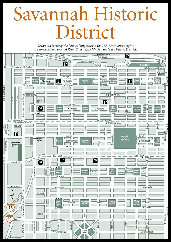 Map of Savannah Squares | ... Squares, Homes, Museums, and Churches > Savannah Historic District Map