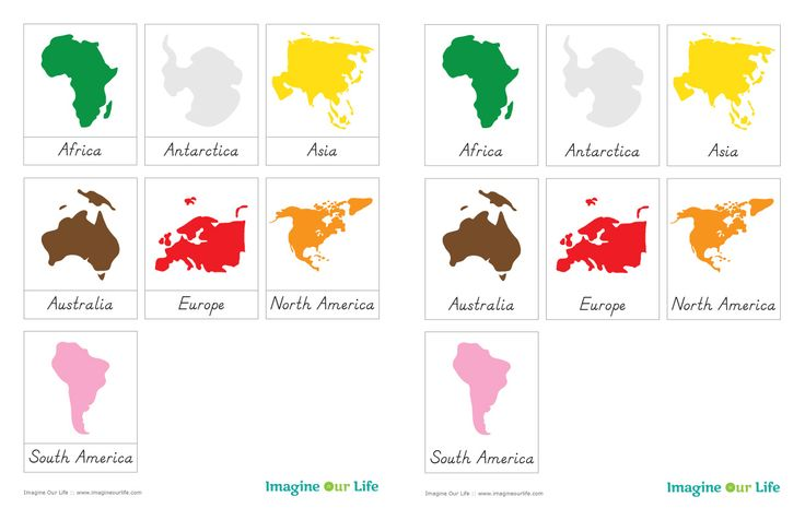 Montessori Continents Map sewalong and Continents Free 3-Part Cards