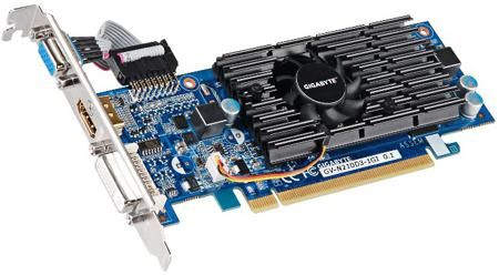 Gigabyte GIGABYTE GeForce 210 590Mhz PCI-E 2.0 1024Mb 1200Mhz 64 bit DVI HDMI HDCP  — 2380 руб. —  Видеокарта Gigabyte GV-N210D3-1GI может использоваться для обработки современного игрового мультимедиа благодаря поддержке технологий NVIDIA CUDA и PhysX. Плата собрана из надежных компонентов и снабжена высокопроизводительной системой охлаждения, не допускающей перегрева адаптера даже при большой нагрузке.