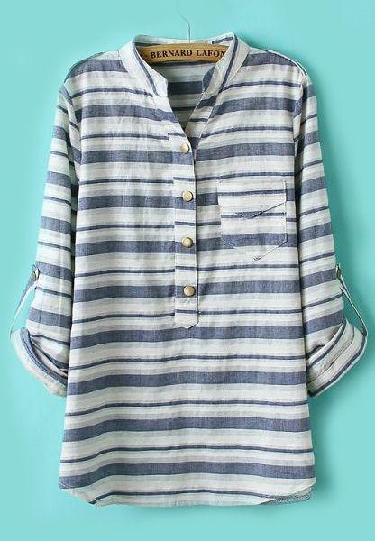 Epaulet Striped Pocket Blue Blouse 16.50