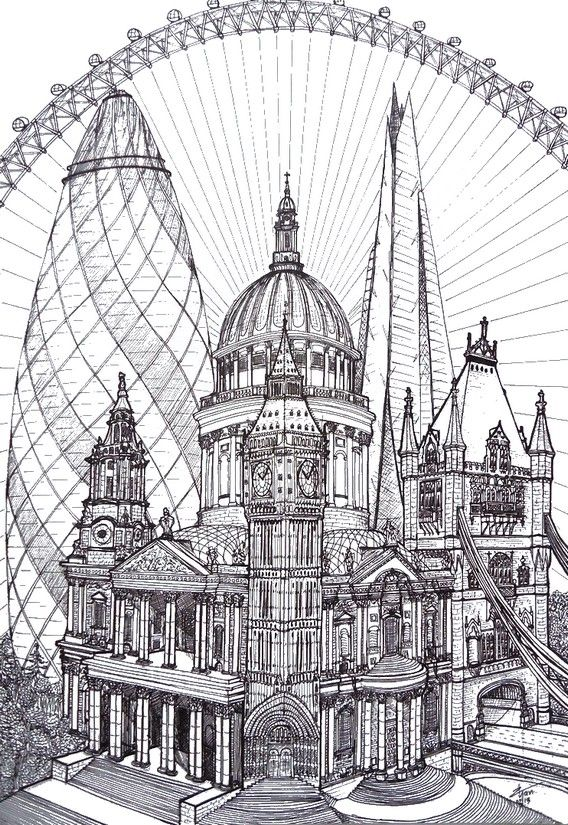 Free Printable Difficult Grown Up Coloring Pages London Creative Leisure Activities Beautiful Drawings Drawing 1