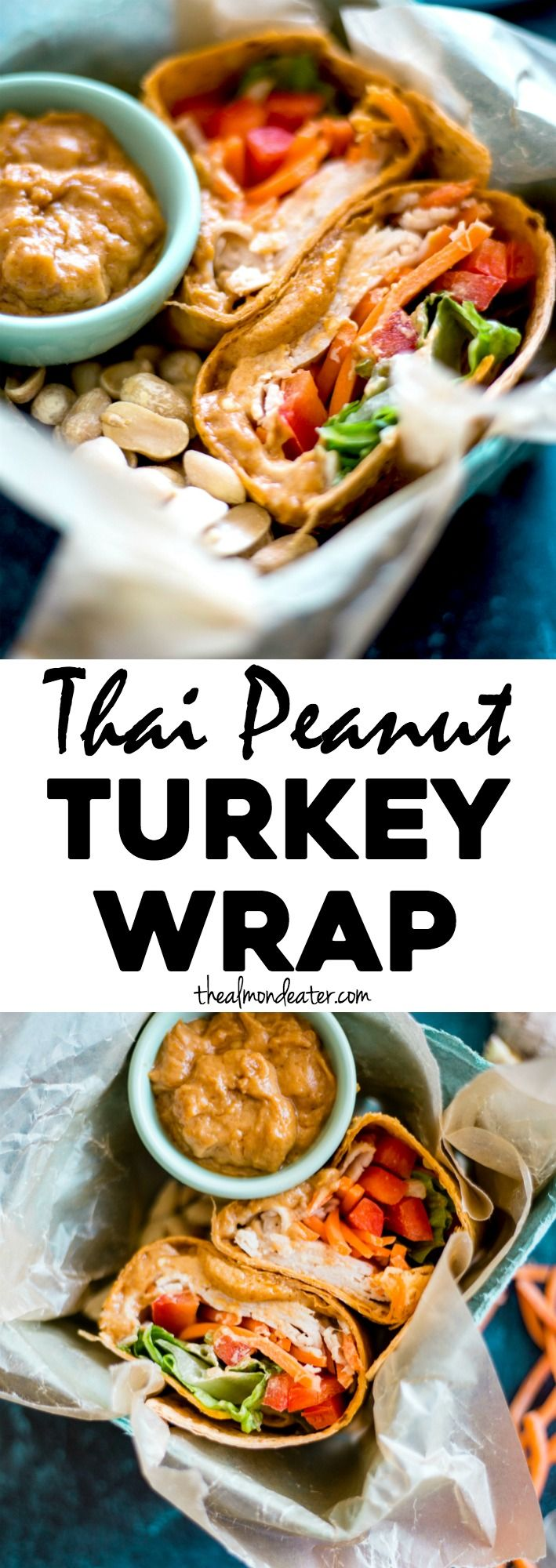 Thai Peanut Turkey Wrap | A simple turkey wrap filled with veggies and a tasty Thai peanut sauce | thealmondeater.com