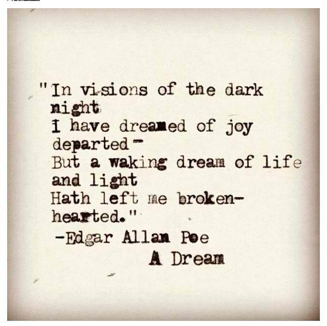 A dream... Edgar Allan Poe My favorite poem