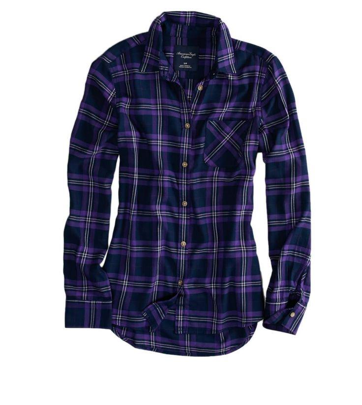 long-sleeved purple plaid shirt; AE Boyfriend Button Down Shirt
