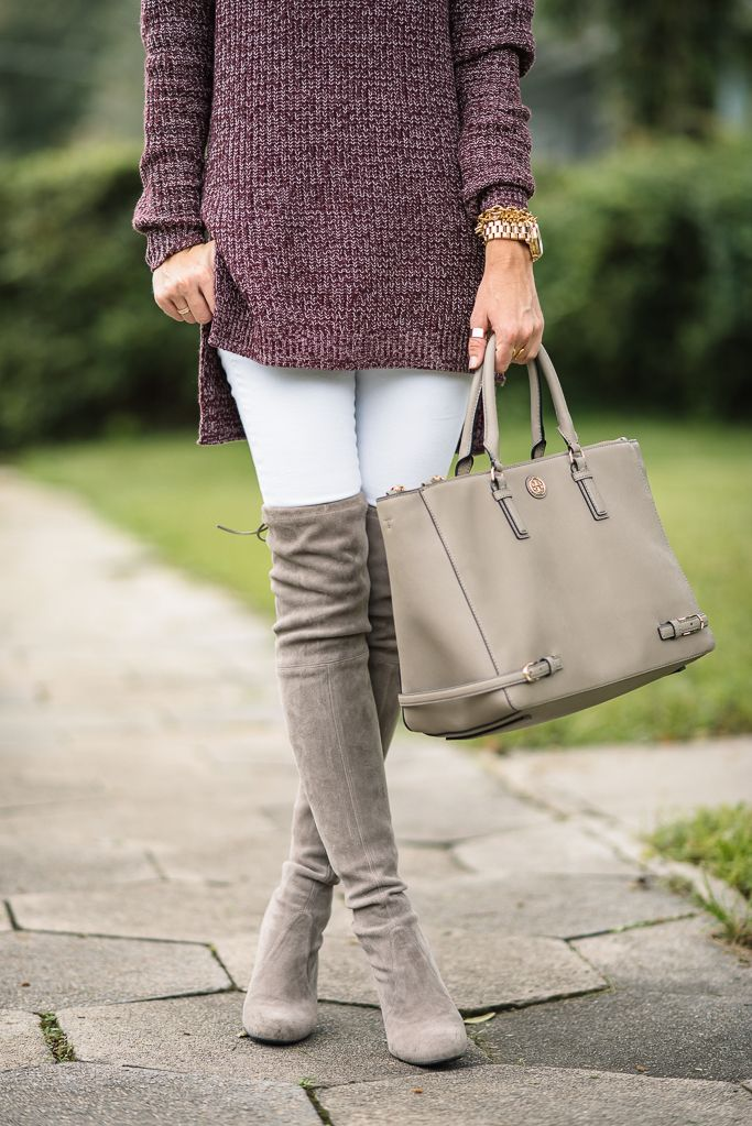 stuart weitzman highland boots + tory burch bag