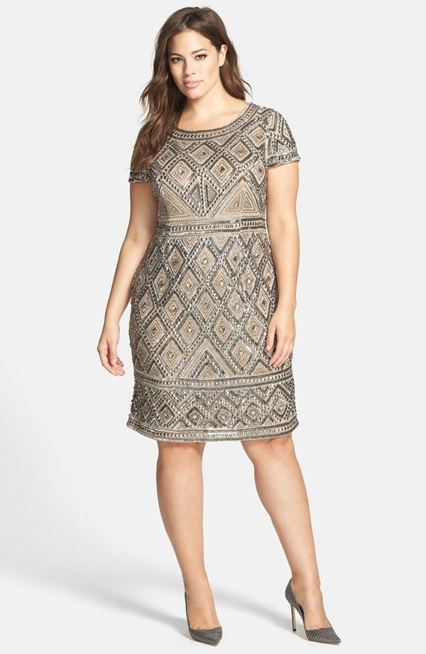 Adrianna Papell Beaded Sheath Dress (Plus Size)