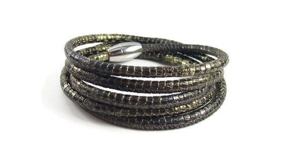 Reptile Print Leather Wrap Bracelet Womens by RealLeatherBracelets