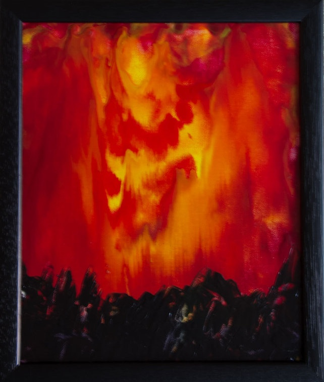 Fire Storm - Original, Framed Encaustic Art Painting on Canvas Board £35.00