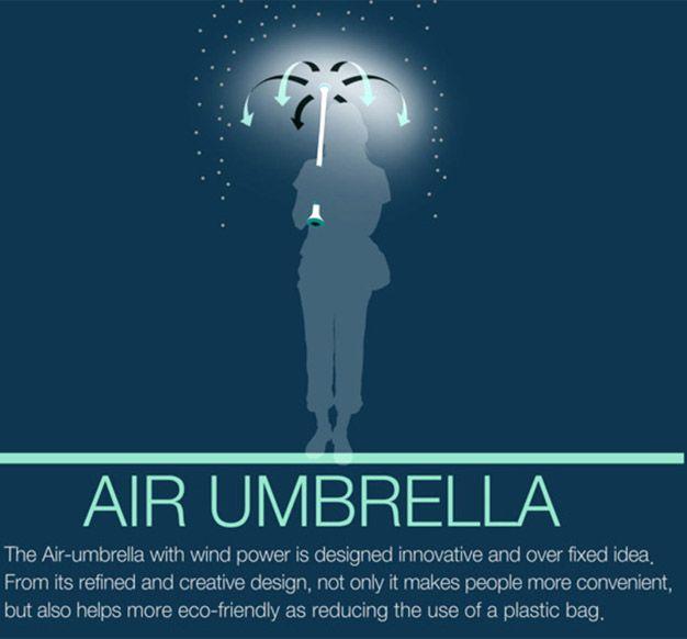 Guarda-chuva é uma coisa incômoda. Há os que preferem se molhar do que ter que carregar aquele objeto nada compacto durante o dia. Pensando nisso, os designers Je Sung Park e Woo Jung Kwon desenvolveram um guarda-chuva high-tech que consiste de um cabo e nada mais. O Air Umbrella é um dispositivo eletrônico que suga o ar de baixo e o solta na ...