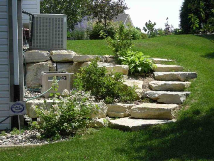 Top 15 Adorable Landscaping On A Slope Backyard On Your Budget Goodsgn Sloped Backyard Landscaping Landscape Stairs Landscape Steps