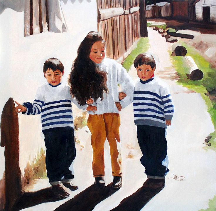 """Marta and brothers"" Oil on canvas, 50 x 50 cm.  Follow my work on facebook and instagram : @DanielaValentiniArt"