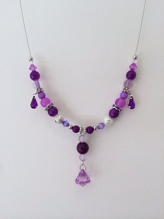 Stunning silver and purple necklace on Etsy, $16.00 AUD