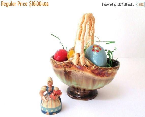 A tisket, a tasket, a vintage Easter basket!    ceramic West German art pottery c. 1960s; teal & gold basket vase with ribbon wrapped handle.