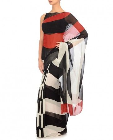 Red, Black & White Digital Printed Sari by Satya Paul