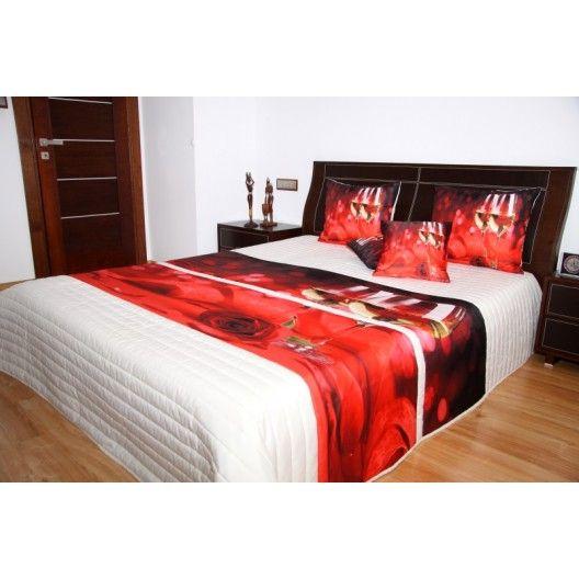 Přehoz na postel krémové barvy s motivem červené růže a bílého vína - dumdekorace.cz