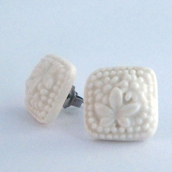 Hip to be square porcelain earrings by FlowntheCoup on Etsy, $30.00