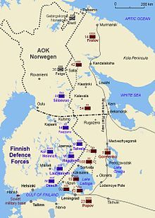 The Continuation War (Finnish: jatkosota, Swedish: fortsättningskriget, 25 June 1941 – 19 September 1944) was the second of two wars fought between Finland and the Soviet Union during World War II. At the time of the war, the Finns adopted this name to make clear this war's perceived relationship to the preceding Winter War.[10] The Soviet Union saw the war as part of its struggle against Nazi Germany and its allies, as the Eastern Front of World War II. The war was known in the Soviet Union