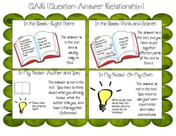 Worksheet Question Answer Relation Teaching Strategy 14 best qar images on pinterest comprehension strategies question answer relationship poster